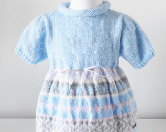 dress pattern - dress hand knitted baby wool 3-6 months baby