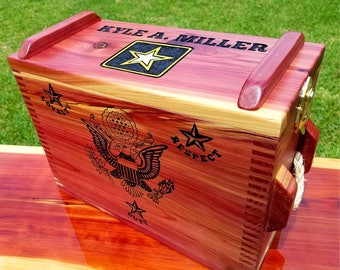 "Personalized Ammo Box, Deluxe Hand-Carved Inscription with Color, Military and Police Retirement/Graduations, 16""x7""x12"""