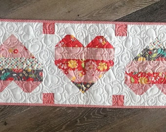 Jelly Roll Hearts Table Runner Kit in Flower Mill fabrics without the need to purchase an entire Jelly Roll
