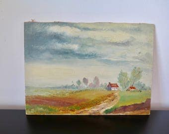 Small Painting Flemish Oil on Board Flemish Country Landscape Early to Mid Century