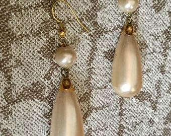 Vintage Frosted Glass Bridal Earrings