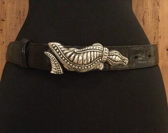 Vintage Leather Belt with Alligator Buckle