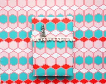Sweater Weather Gift Wrap - Winter  Wrapping Paper - pastel pink red teal - ugly sweater - modern geometric Birthday backdrop