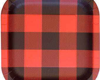 Buffalo Plaid Gingham Square Lunch Plates (8 Pack)