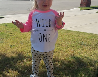 Wild One Shirt - Wild Girls - Wild Baby's Shirt - Baby Girls Shirt - Girls Shirt - Girls Raglan - Baby Raglan - Hearts - Baby Girls Outfit