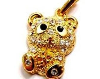 swarovski 22mm Teddy bear Golden bail pendant
