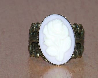 1 bronze cabochon and adjustable filigree ring pink