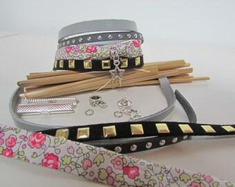 Kit liberty grey leather Cuff Bracelet Bead clasp - 119