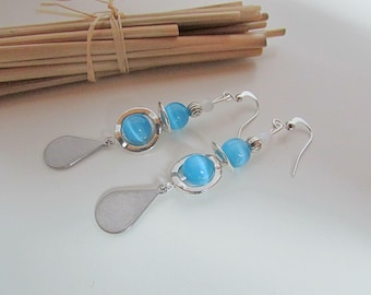Earring hook and Pearl silver - turquoise glass bead - print stainless steel - 6.8 cm - 95