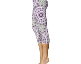 Fashion Leggings Capri - Purple and Green Funky Mandala Pattern Yoga Pants