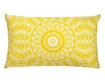 Gold Pillow, Decorative Throw Pillow, 20x12 Lumbar Pillow, Yellow and White Mandala Design Rectangle Cushion