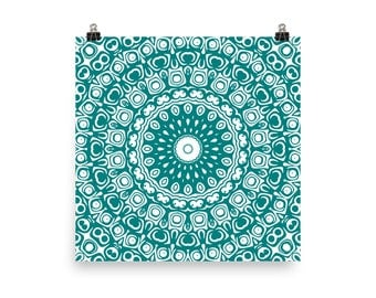 Teal Wall Art, Abstract Teal and White Mandala Art, Home Decor in Teal, Art Print
