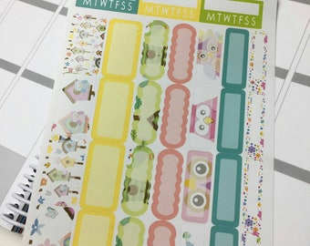 AJ6D355, Twit Twit Twoo. boxes Sheet. Planner Stickers.