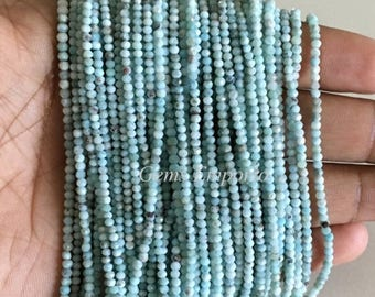 """ON SALE Larimar Beads 13"""" Strand, Fine Quality Micro Faceted Beads, Size 2.50 MM. Sea Blue Color. Price per Strand"""