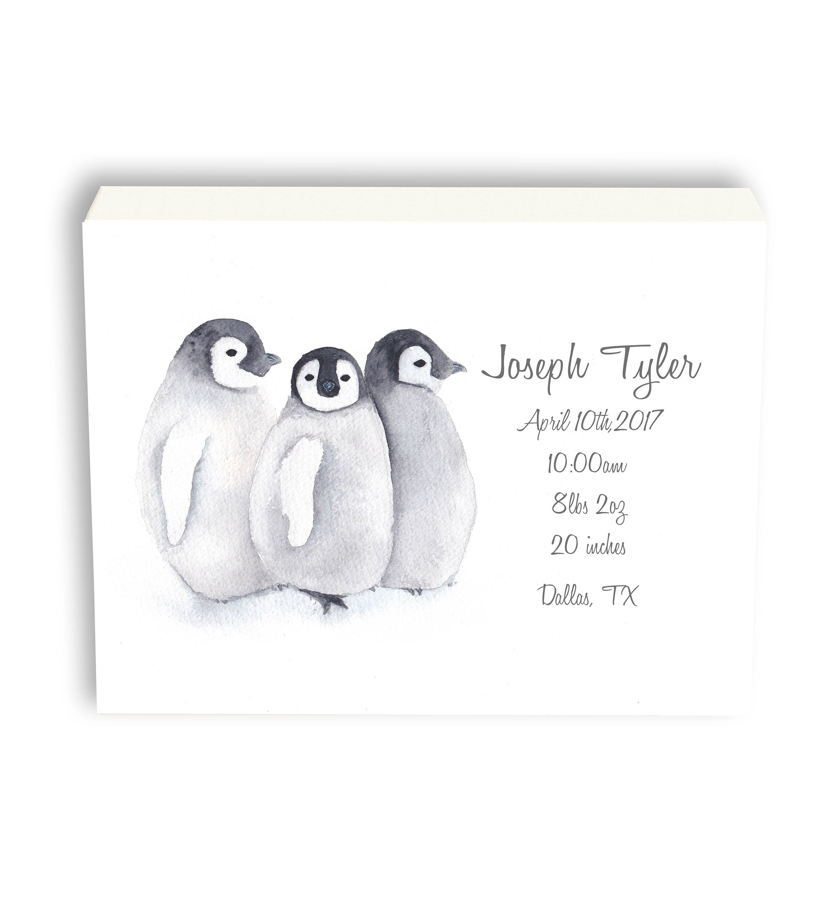 Personalized baby birth stat penguin canvas gift for baby gift personalized baby birth stat penguin canvas gift for baby gift from grandma watercolor art gift p1001c negle Images