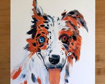 Dog Portrait - Australian Shepherd. 11x14 print of the original artwork.
