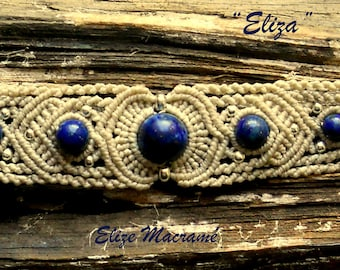 Unique macrame bracelet with Lapis Lazuli beads