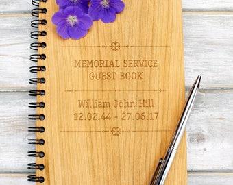 Personalised A5 Wooden Memorial Service Guest Book - Memorial Design