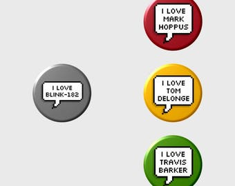 """Mark Tom Travis """"I LOVE"""" Pixel Button+ (Select Style/Choice)"""