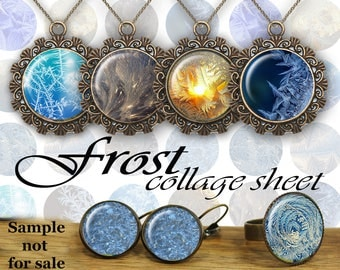 "Frost Digital Collage Sheet Glass Dome necklace Bottle Caps Ice Cabochons Magnets Digital Images for Jewelry Images 1.5"" 1"" 25mm"