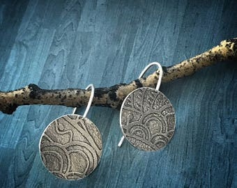 Round Etched Sterling Silver Artisan Earrings