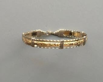 Sterling Silver & Gold-Filled Wire-Wrapped Bangle Bracelet