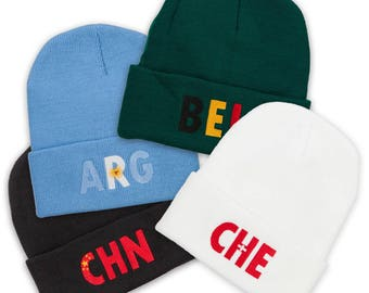 Country Flag Embroidered Long Beanie