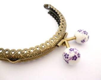 "Bronze tone metal Purse Frame _AT031325478/6547_Frames_ Brass purse / Purple flowers of 85 mm / 3,34"" _ pack 1 pcs"
