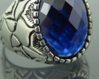 Hand made ottomane Turkishand muslim style, 925 Sterling silver men ring with bleu sapphire stone 8 to 13 USA size