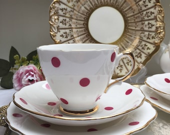 The Prettiest Raspberry Polka Dot Vintage Royal Vale Teacup, Saucer and Plate