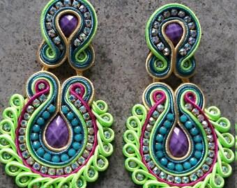 Green large Soutache earrings
