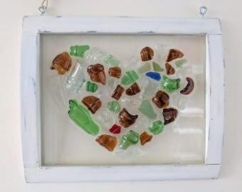 Sea glass bottleneck heart