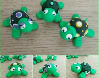 Whimsical Turtles: cute colorful polymer clay figurines-Handmade lovely collectibles turtles-home decorations