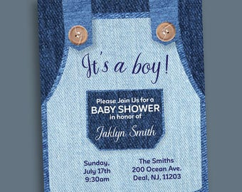 Baby Denim Overall Invitation, Printable Invitation, Denim Overalls Baby Shower, Denim Theme Party, Customized Invite, Denim Party Supplies
