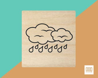 Raining - 3cm Rubber Stamp (DODRS0046)