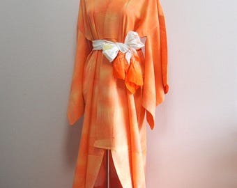 Orange iromuji / vintage silk kimono robe