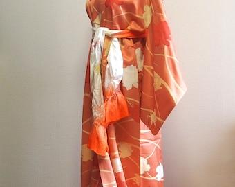 Elegant flower silk kimono robe  / Orange silk kimono robe