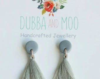 Grey cotton tassel earrings with polymer clay and rose gold loops