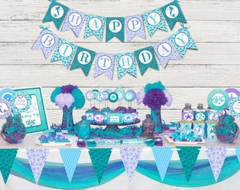 Mermaid party printable package, Mermaid party, under the sea party decorations, Mermaid party decorations, mermaid birthday, mermaid decor