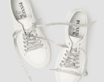 Shoe laces glitter silver