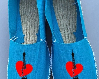 "Sneakers ""PARIS"" in TURQUOISE blue color"