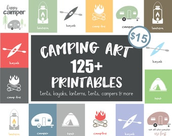Modern Camping Print | Instant Download | Outdoor Camping Set | Nursery Printable | Digital Download | Nursery Wall Art | Camping Party