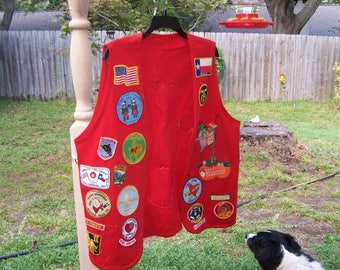 Vintage Shriner's Red Vest with Patches Texas