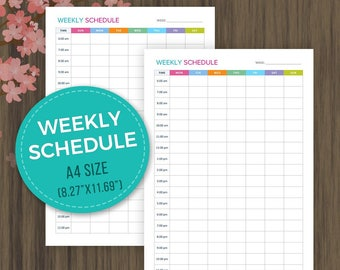 A4 Weekly Schedule Planner, Weekly Planner Inserts, Weekly Agenda, Weekly Planner, Weekly Organizer, A4 Size, Planner Printable, 8.27x11.69