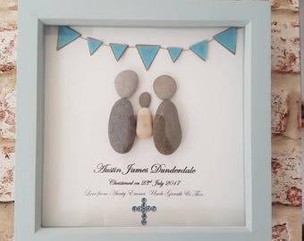 Personalised christening frame, pebble art