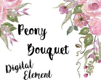 Peony Clip-art, Pink Watercolor Peony Clip-art, Watercolor Floral Clip-art, Pink Floral Clip-art, Watercolor Clip-art. No. WC56
