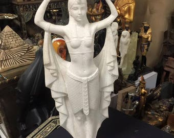 Unique Vintage Heavy  Egyptian Statue Goddess Isis Hand Carved Natural Marmar Stone Made in Egypt