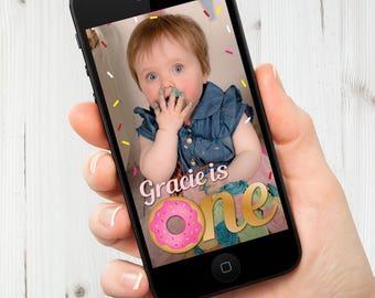 First Donut Birthday Snapchat Filter, Donut Grow Up Geofilter, First Birthday Snapchat Filter, Kids Birthday Snapchat Geofilter