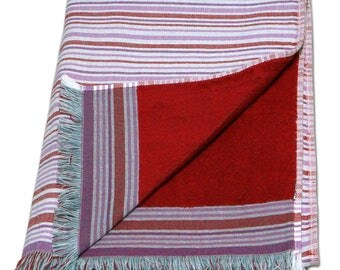 Large 100% Cotton Double Side Pareo Beach Towel Bath Sheet – Red Stripes Pattern