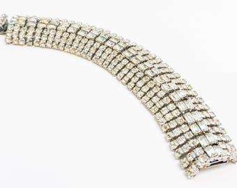 Gorgeous Signed WEISS Vintage Runway Rhinestone Bracelet